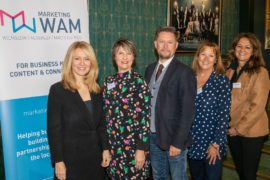 Cabinet Minister Esther McVey with Marketing WAM directors (from left to right): Sue Souter, Richard Higginson, Helen White and Jan Cowan