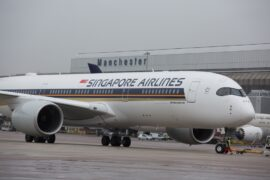 Singapore Airlines A350 at Manchester Airport low res