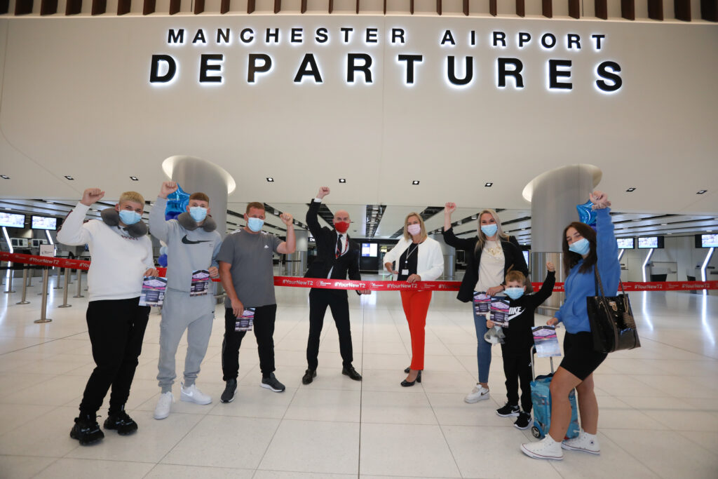 Marc Burns from Jet2 and Karen Smart, Manchester Airport MD joined the Thompson family at the reopening of Manchester Airports new-look Terminal Two