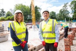 New Care's Dawn Collett (left) and McGoff Construction's senior site manager Eddie Murphy (right)